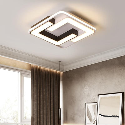 Surface Mounted Modern led White+Black Finished Ceiling Chandelier fixture