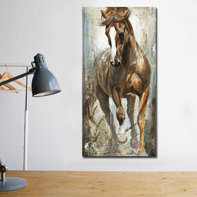 Modern Vertical Canvas Horse Painting