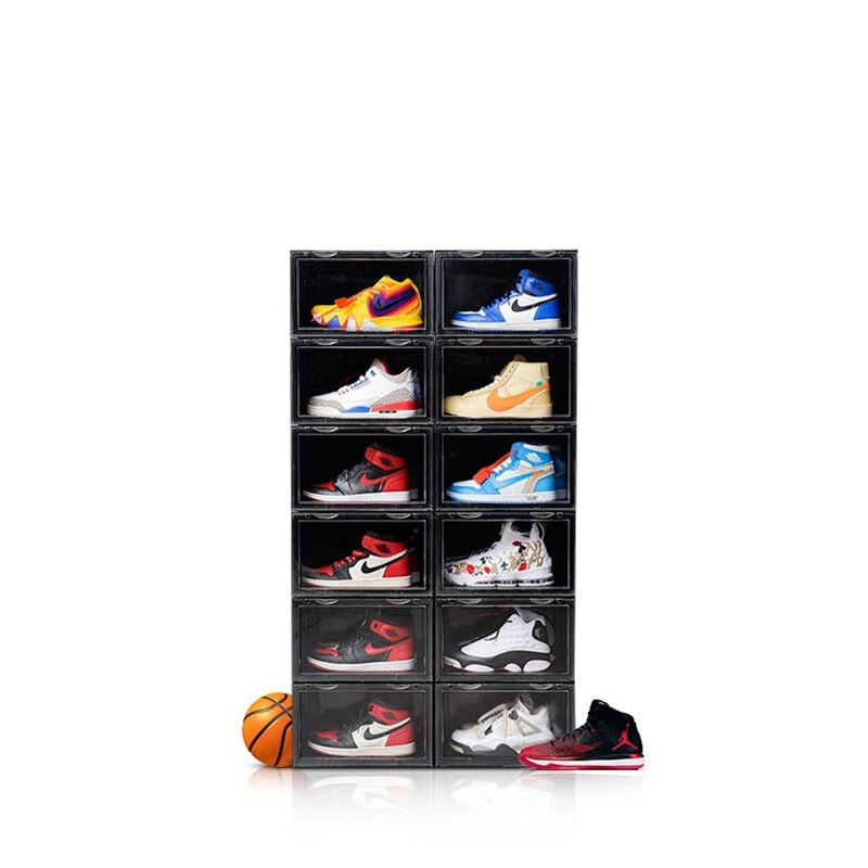 Plastic Transparent Shoe Sneakers Box  Organizer