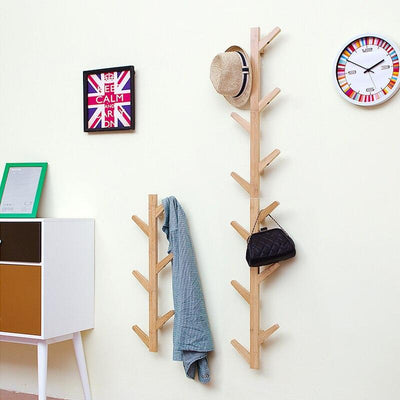 Eco-friendly natural bamboo tree branch wall storage shelf 6 hooks
