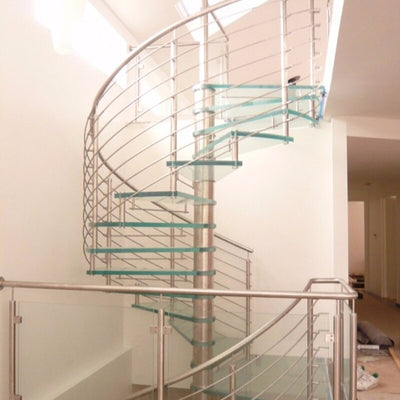 Glass railing wood stair, mono stringer wood staircase
