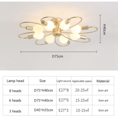 Nordic Modern Wrought Iron Gold Plated Ceiling Lamp
