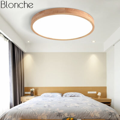 Nordic Modern Ultra-thin Wood Round LED Ceiling Lamp Fixtures