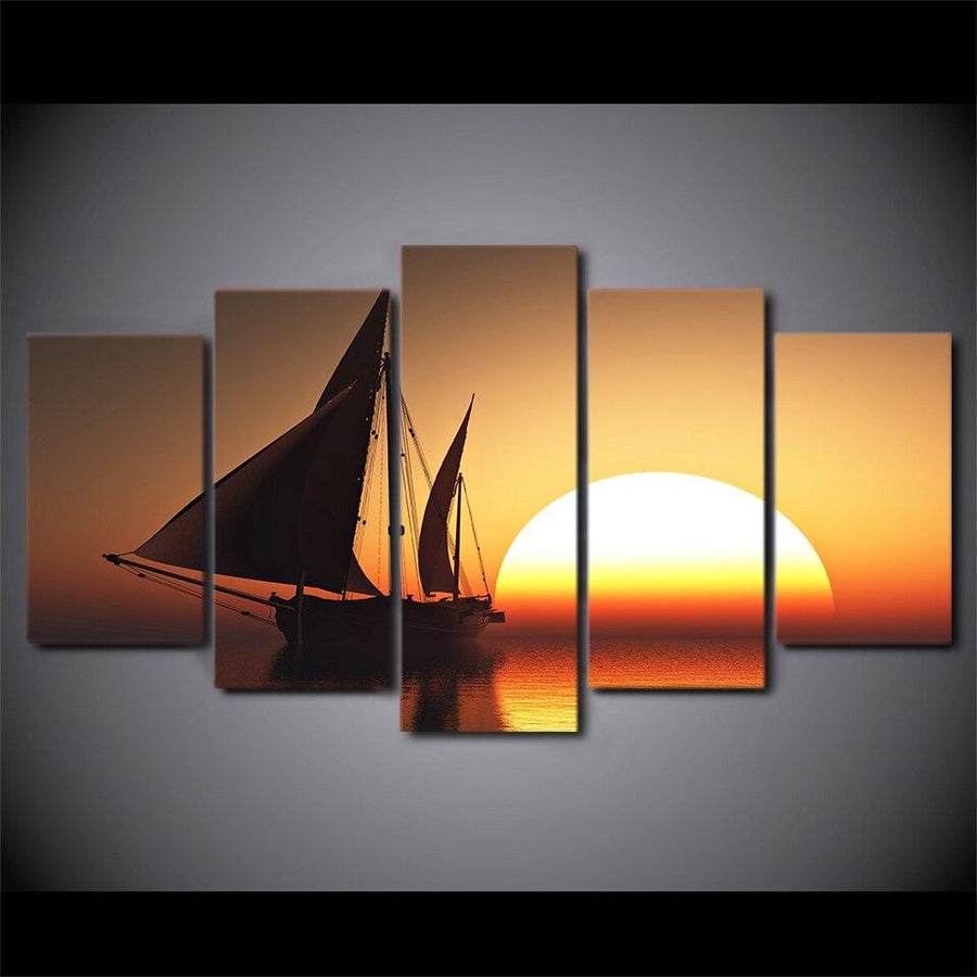 HD Printed 5 Piece/Pcs Sun Sea Ship Scenery Wall Art Painting