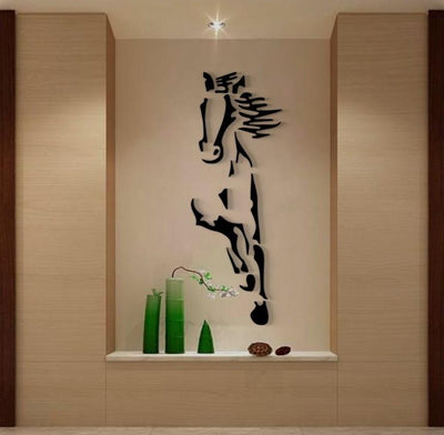 Horse Mirror Creative 3D Crystal Acrylic Solid Wall Stickers For Living room