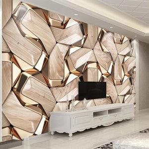 Modern 3D Abstract Geometry Gold Metal Pattern Photo Wall Paper