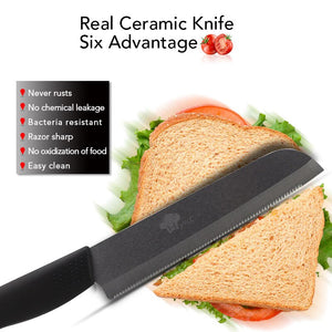 "Ceramic Knife cooking set 3"" 4"" 5"" inch+6 inch S+Peeler"