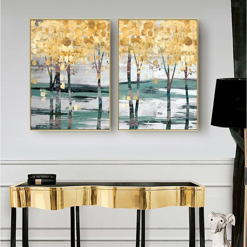 Golden Forest Landscape Wall Art Canvas