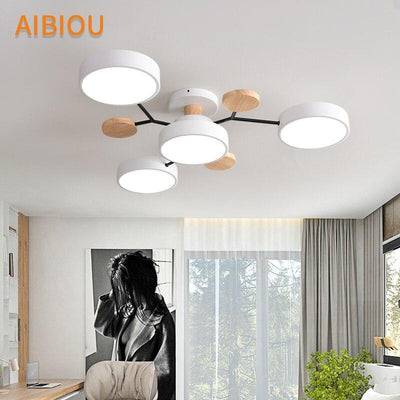 Nordic Wooden Ceiling Lights With Round Metal Lampshades