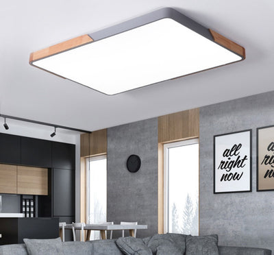 Nordic Macaroon Color Living Room wood Dimmable Square Led Ceiling Lamp