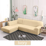 Plush fabric Sofa Cover  L-shape LoveSeat 1/2/3/4 Seater