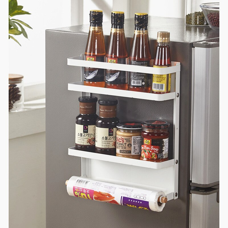 Iron Foldable Refrigerator Magnetic Double Rack Organizer