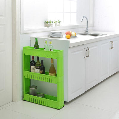 Movable Plastic Interspace Storage Rack Refrigerator Space Rack with Roller