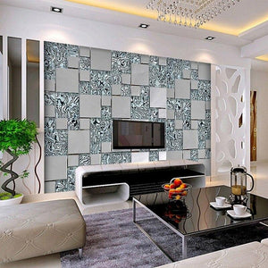 3D stereoscopic mosaic cubes nonwoven fabric mural wallpaper