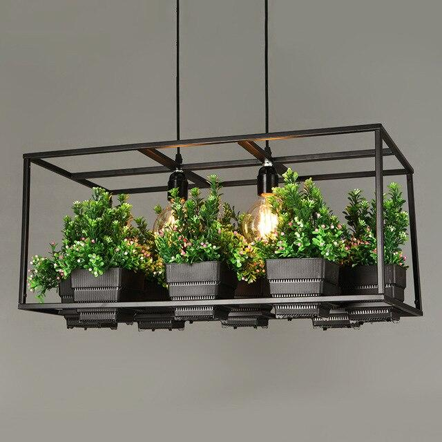 Modern Simple wood& iron plant pot light
