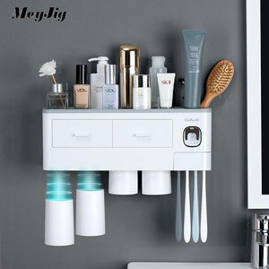 3 Color Bathroom Accessories Toothbrush Holder Automatic Toothpaste