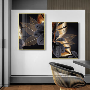 Black Golden Plant Leaf Canvas Poster