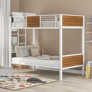 Double Space Saving Pine Double Bunk Bed with Stairs