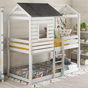 Twin Over Twin Bunk Bed Wood With Roof