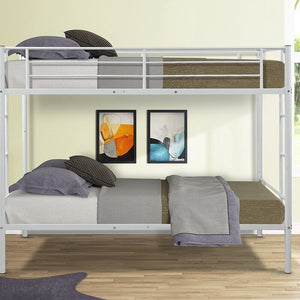 Space-saving Modern Double-layer Bed Twin Size White/Black