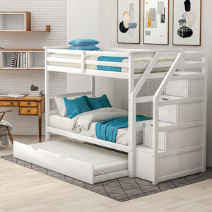 Solid Wood  Twin Bunk Bed With Trundle And Staircase