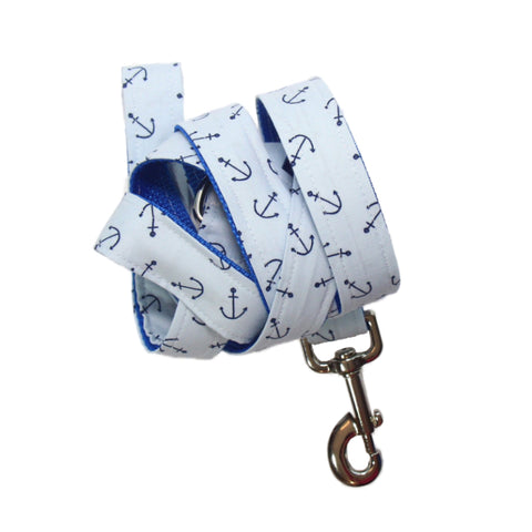 Light Blue Anchor - Dog Leash
