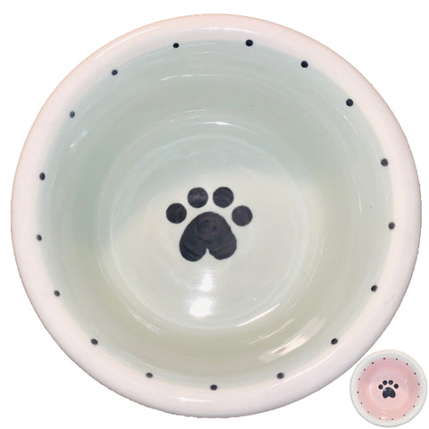 Single Paw Design - Handmade Ceramic Dog Bowls