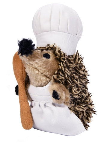 Chef Spike the Hedgehog - Plush Dog Toy with Squeakers