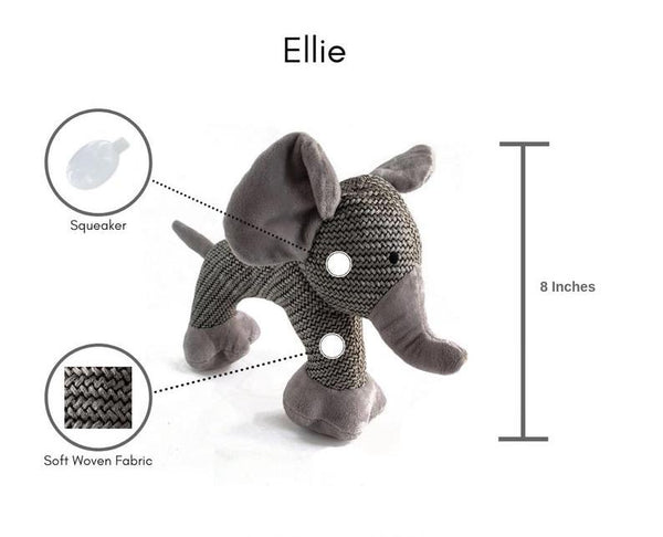 Ellie the Elephant - Plush Dog Toy with Squeaker