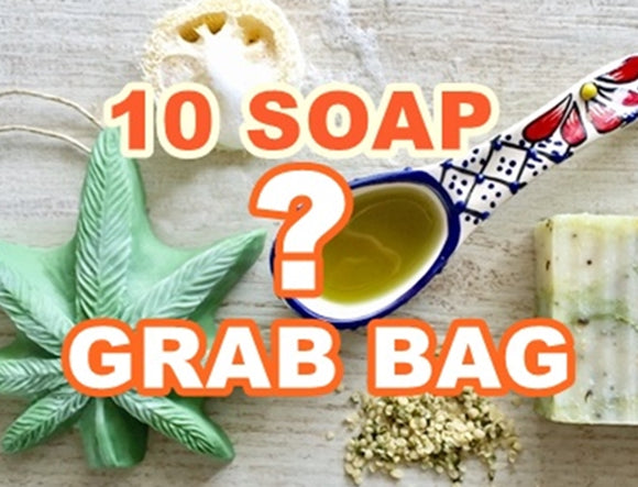 Handmade soap, 10 soap grab bag, stocking stuffers, soap on a rope