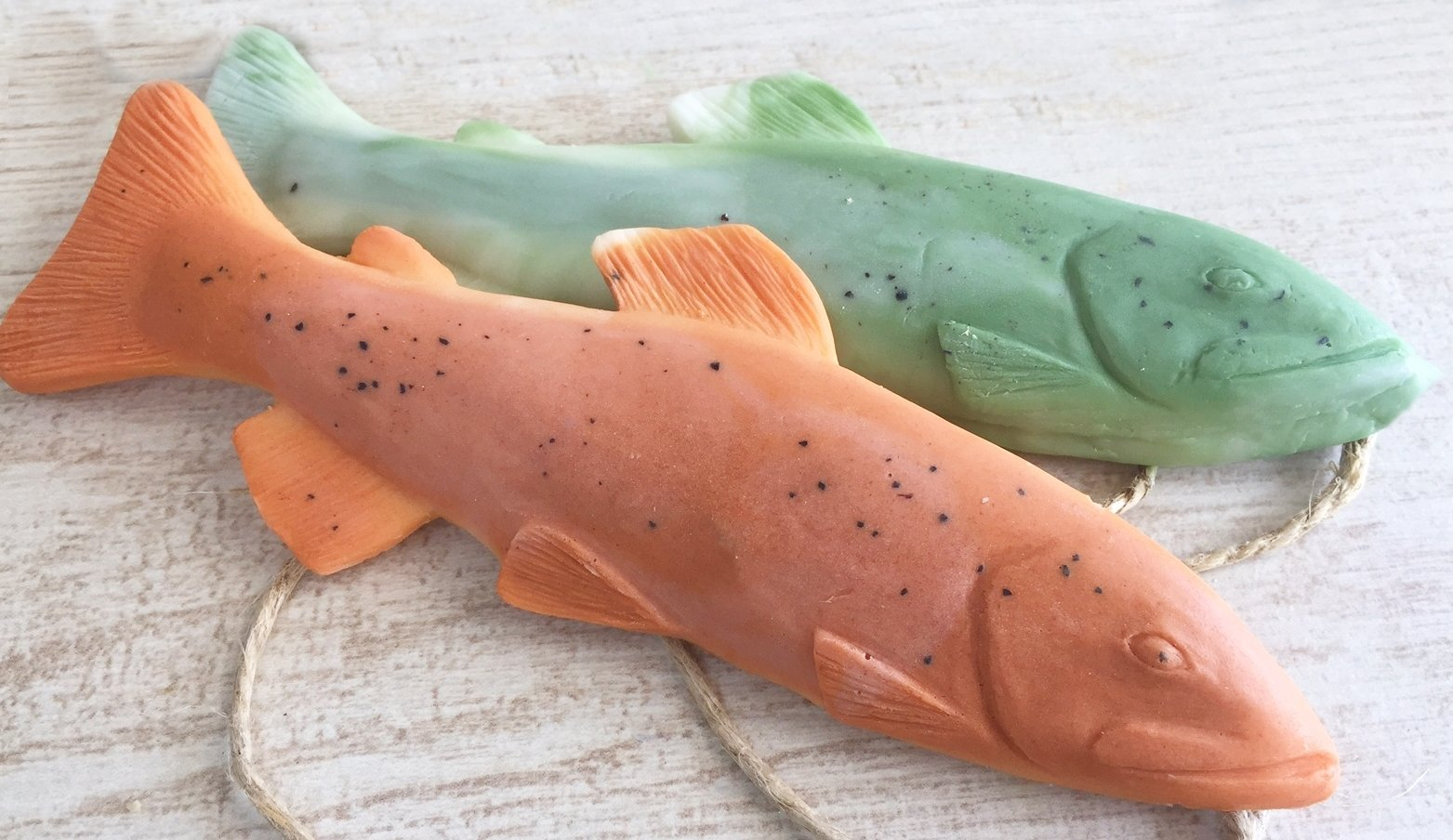Trout Soap on a Rope 2-Pack, Orange Fish Green Fish