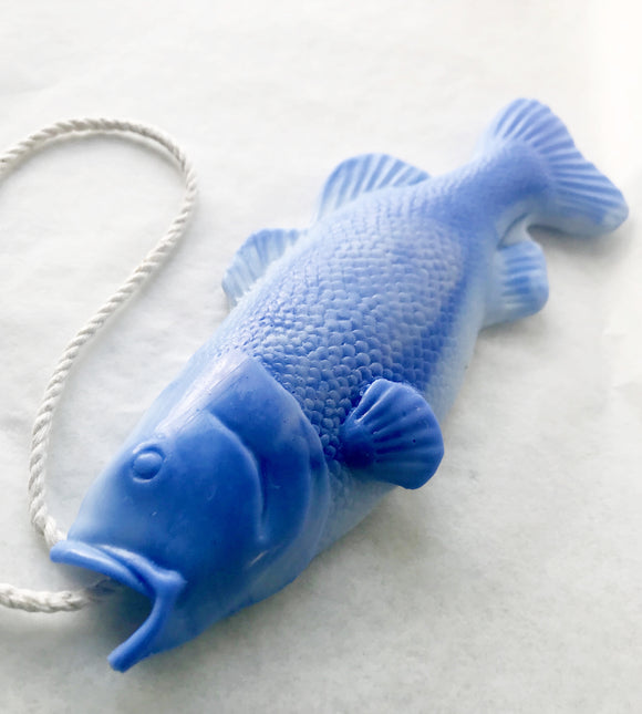 Blue Bass Soap on a Rope