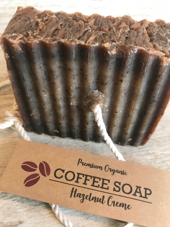 Coffee Soap, Organic Soap, Soap on a Rope, Coffee Gifts, Hazelnut