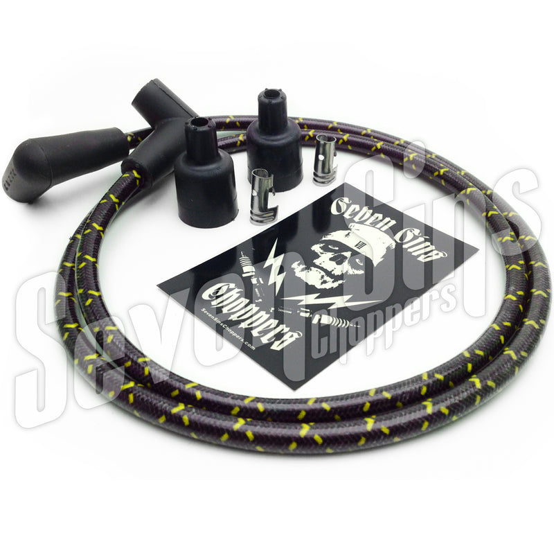 7MM IGNITION WIRE / RETRO CLOTH BRAID / BLACK HORNET (BLACK & YELLOW)