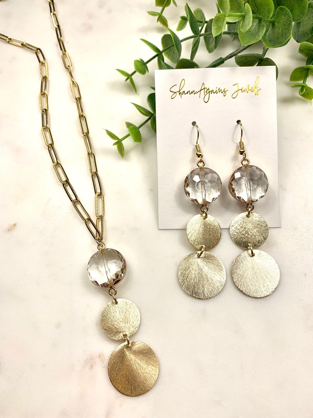 Stone + Disks Earrings