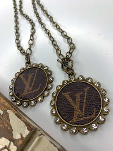 Upcycled Authentic LV Canvas Necklace