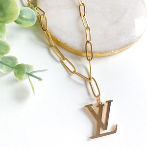 LV + Link Necklace - Gold