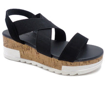 Load image into Gallery viewer, Black Espadrille Wedge