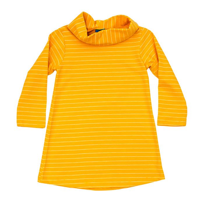 Cowl Neck Dress in Mustard Stripe