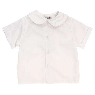 Boys White Short Sleeve Piped Peter Pan Collar Shirt