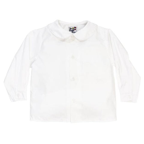 Boys Long Sleeve Piped Button Front Shirt-White