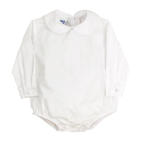 Boys Long Sleeve Button Back Onesie-White