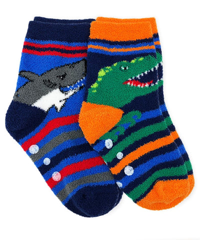 Dinosaur and Shark Fuzzy Slipper Socks 2 Pair Pac