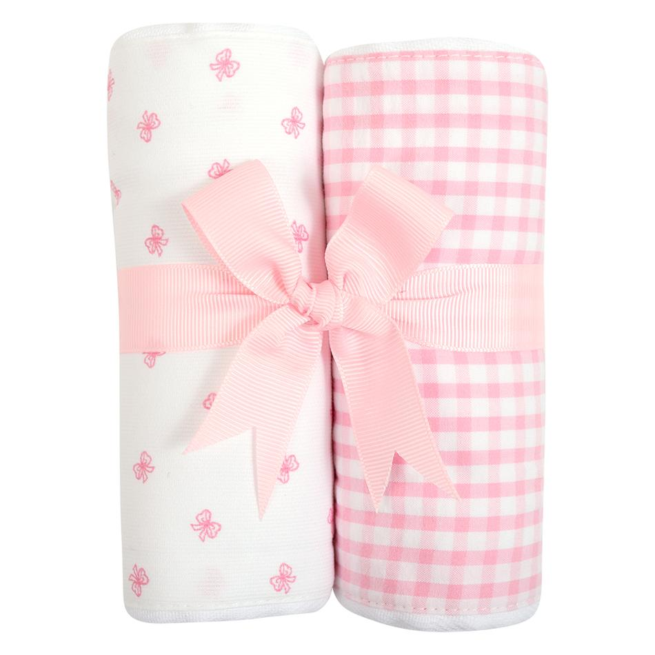 Pink Bow Set of 2 Burpcloths