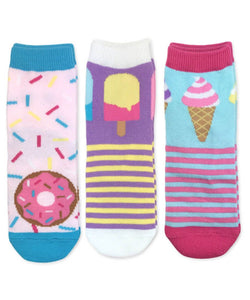 Donut Popsicle Ice Cream Pattern Crew Socks 1 Pair