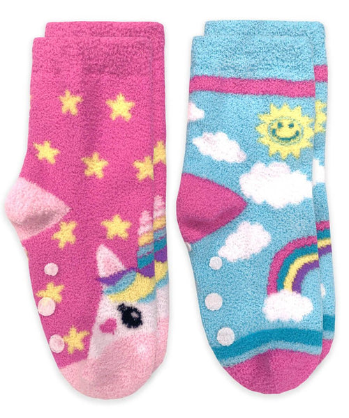 Unicorn and Rainbow Fuzzy Non-Skid Slipper Socks 2 Pair Pack
