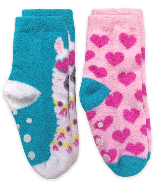 Llama and Hearts Fuzzy Non-Skid Slipper Socks 2 Pair Pack