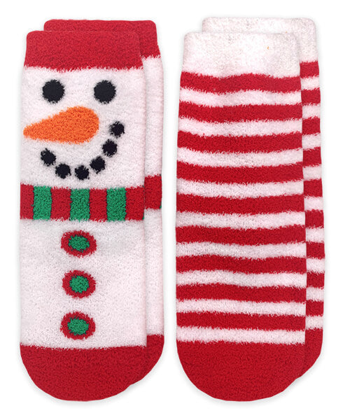 Snowman and Stripes Fuzzy Non-Skid Slipper Socks 2 Pair Pack