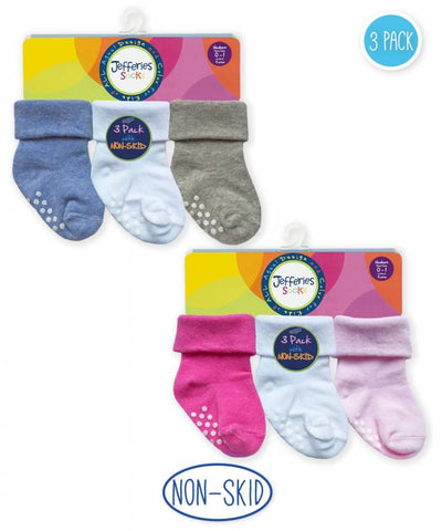 Non-Skid Turn Cuff Socks (3 pack)