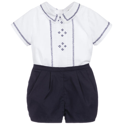 Navy Embroidered 2 Piece Set
